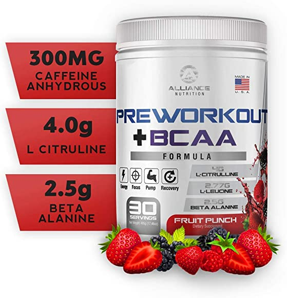 The Alliance Nutrition Pre Workout BCAA Caffeine for Energy, BCAA for Recovery, Beta Alanine, Stamina, Keto Friendly, Fruit Punch 30 Servings