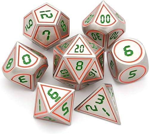BBGoo Dados De rol Juego de Mesa Juego de Dados de Metal Juego de Dados D&D de 7 Piezas con Bolsa Negra para Juegos de Mesa Juegos de Mazmorras y Dragones Prg: