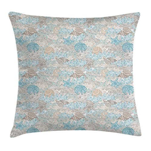 Ambesonne Nautical Throw Pillow Cushion Cover, Pastel Toned Sea Shell Starfish Mollusk Seahorse Coral Reef Motif Design, Decorative Square Accent Pillow Case, 18 X 18 inches, Tan Turquoise ()