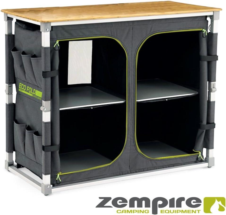 Zempire Diseño XXL – Armario de Camping con una Placa Naturales y recipientes bambú, Totalmente Plegable + Extremadamente Resistente, 4 Compartimentos ...
