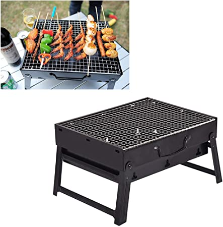 Portable Barbecue Grill Foldable Home Barbecue Grill Charcoal Grill Lightweight Smoker Cooking Grill Camping BBQ Tool Kit for Garden Party Picnic