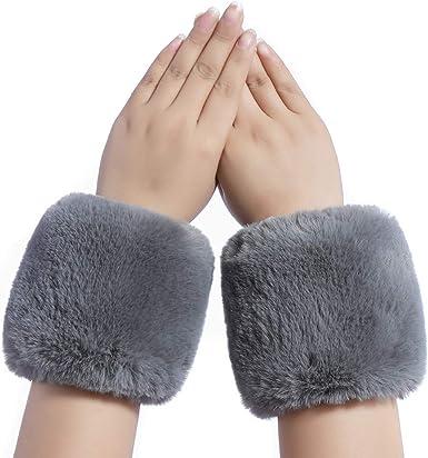 Dikoaina Faux Fox Fur Hair Soft Wrist Band Ring Cuff Warmer