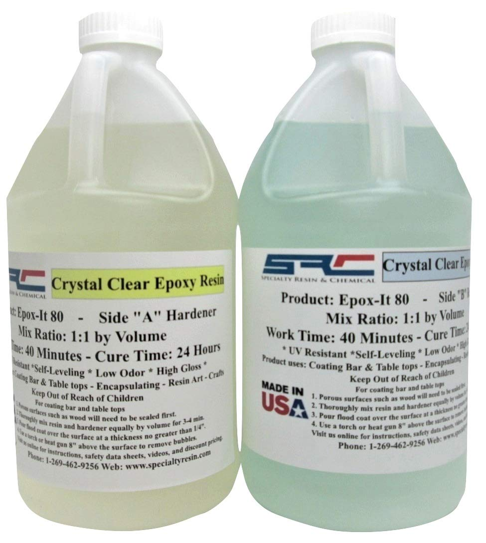 Crystal Clear Epoxy Casting Resin for Coating Wood Tabletop 1 Gallon Kit by Specialty Resin & Chemical (Image #1)