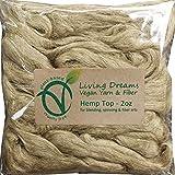 Hemp Fiber for Spinning, Blending, Felting & Fiber Arts. Natural Vegan Combed Top. Natural Undyed Brown