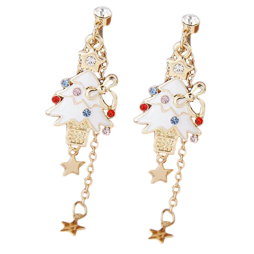 Cdet 1 Pair Earring Clip Woman Christmas Tree Diamond Star Pendant Ear Studs Dangle Lady Earring Jewelry Accessories Love Gift White