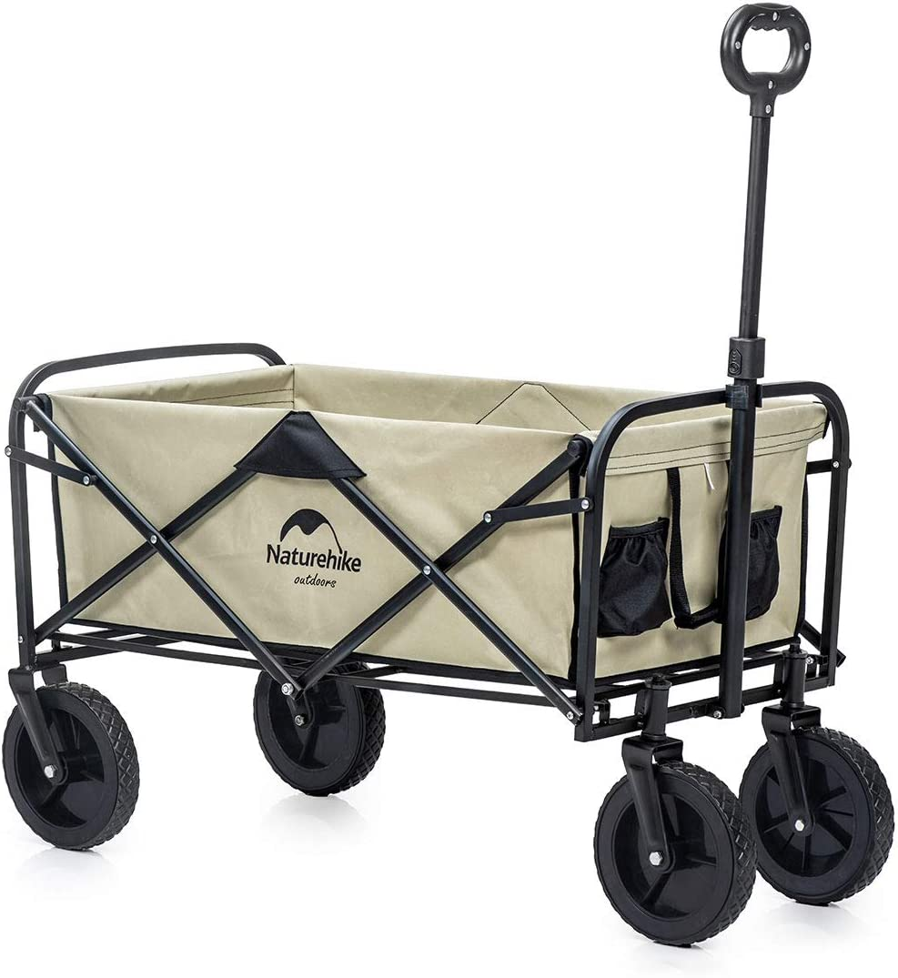 Naturehike Collapsible Outdoor Utility Wagon, Heavy Duty Folding Garden Portable Hand Cart, Compact Outdoor Wheelbarrows, Suit for Shopping and Park Picnic, Beach Trip and Camping(Khaki)