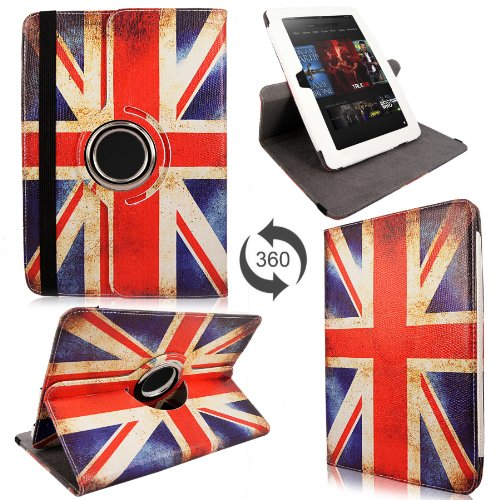 Cellularvilla 360 Degree Rotating Swivel Stand UK British Flag Pu Leather Flip Folio Smart Case Cover for Amazon Kindle Fire HD 8.9