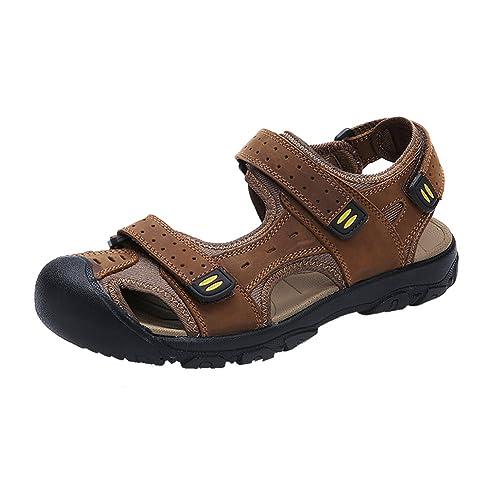NiNE CiF Menu0027s Leather Sandals Outdoors Beach Shoes