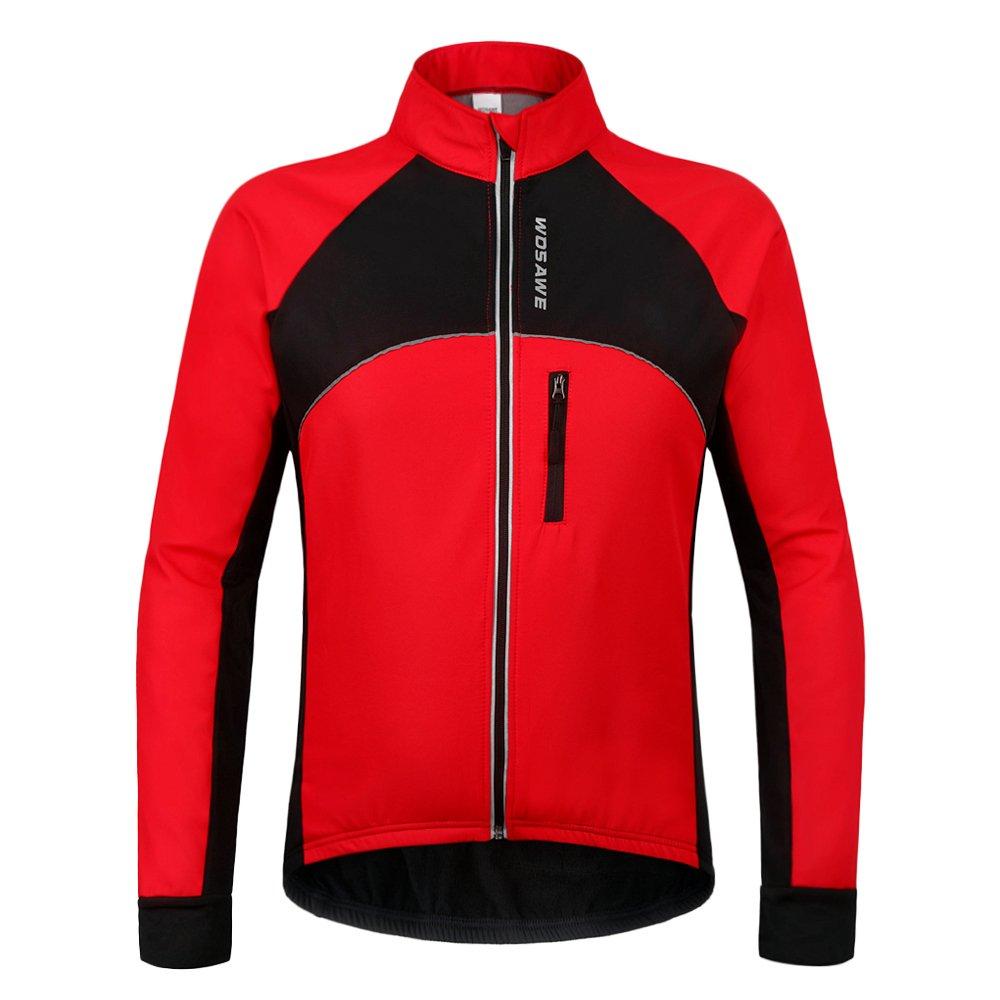 Wolfbike 自転車 サイクルジャケット ウインドブレーカー 軽量 撥水 サイクルウエア 防風 通気 バックポケット 反射材 アウトドア メンズ レディース 全5色 B01N52Q5BW L|Fleece Jacket_Red Fleece Jacket_Red L