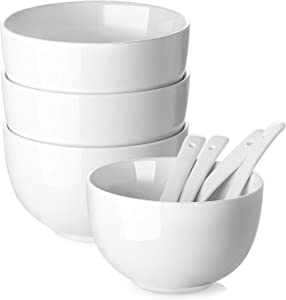 DOWAN White Soup Bowls, Deep Soup Bowls and Spoons Set, 30 Ounce Cereal Bowls Set of 4, Ceramic Ramen Bowls and Pho Bowls for Kitchen, Microwave and Oven Safe