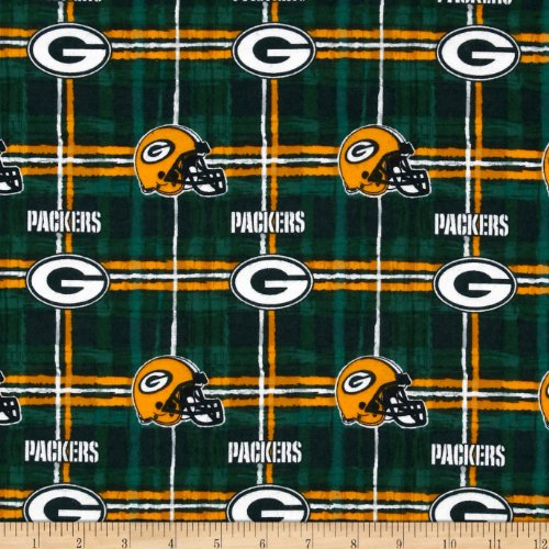 NFL Flannel Green Bay Packers Green/Yellow Fabric By The Yard