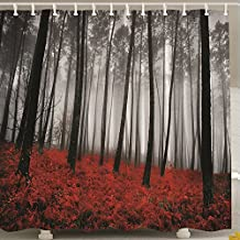 TYAYA Polyester Fabric Waterproof mold resisitant Shower Curtain Red Forest with 12pcs Plastic Hooks 70 x 70 inches