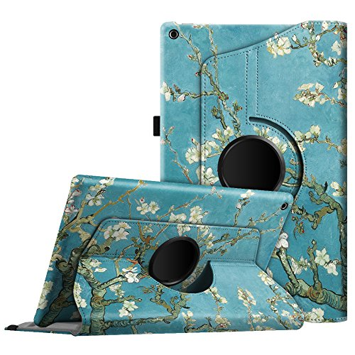 Fintie Case for All-New Amazon Fire HD 10 Tablet (Compatible with 7th and 9th Generations, 2017 and 2019 Releases) - 360 Degree Rotating Stand Protective Cover with Auto Sleep Wake, Blossom