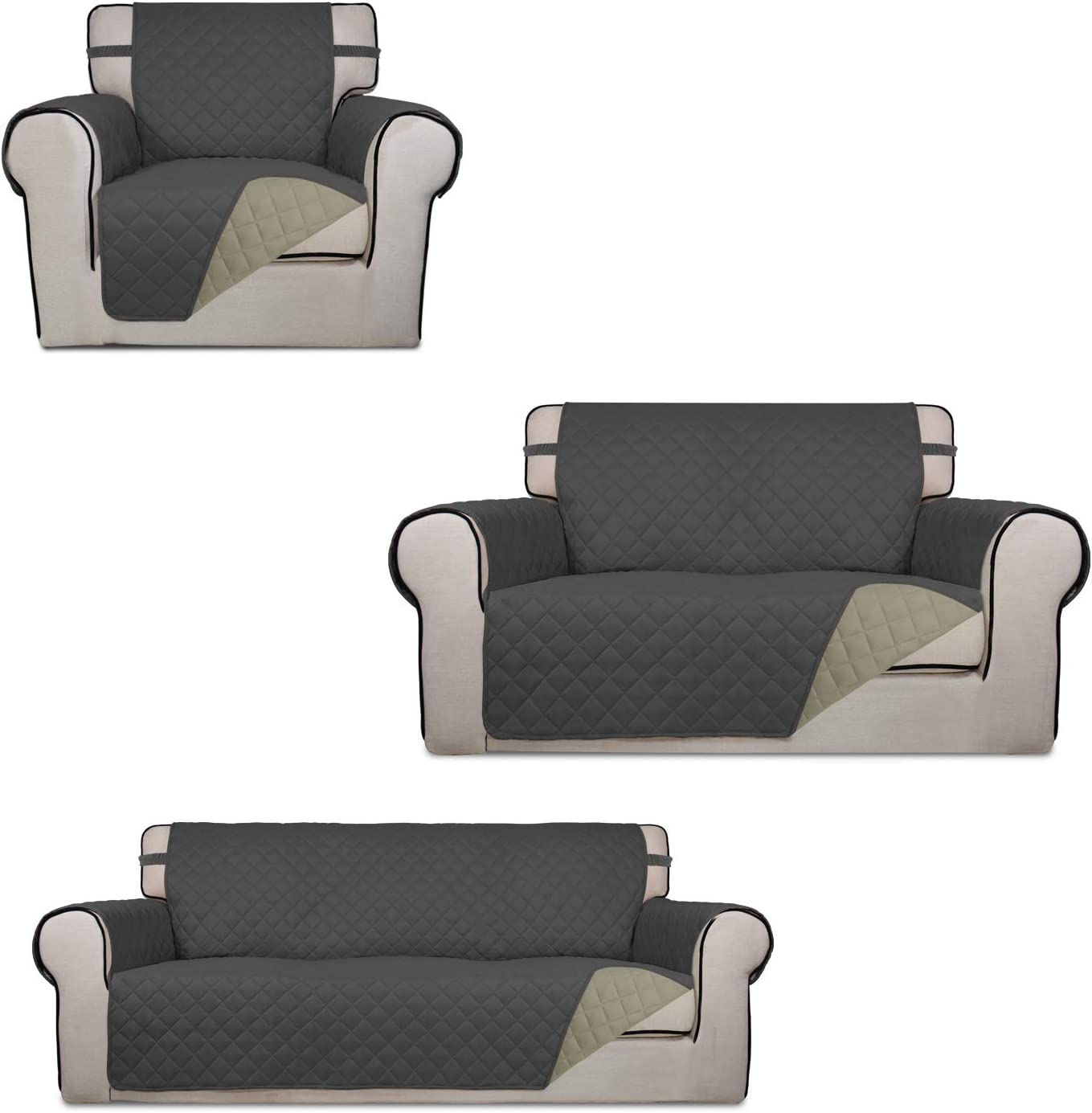 PureFit Chair Loveseat Sofa Cover Bundles Reversible Dark Gray/Beige Couch Cover