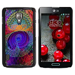 Paccase / SLIM PC / Aliminium Casa Carcasa Funda Case Cover para - Feather Colorful Vibrant Neon - LG Optimus L7 II P710 / L7X P714