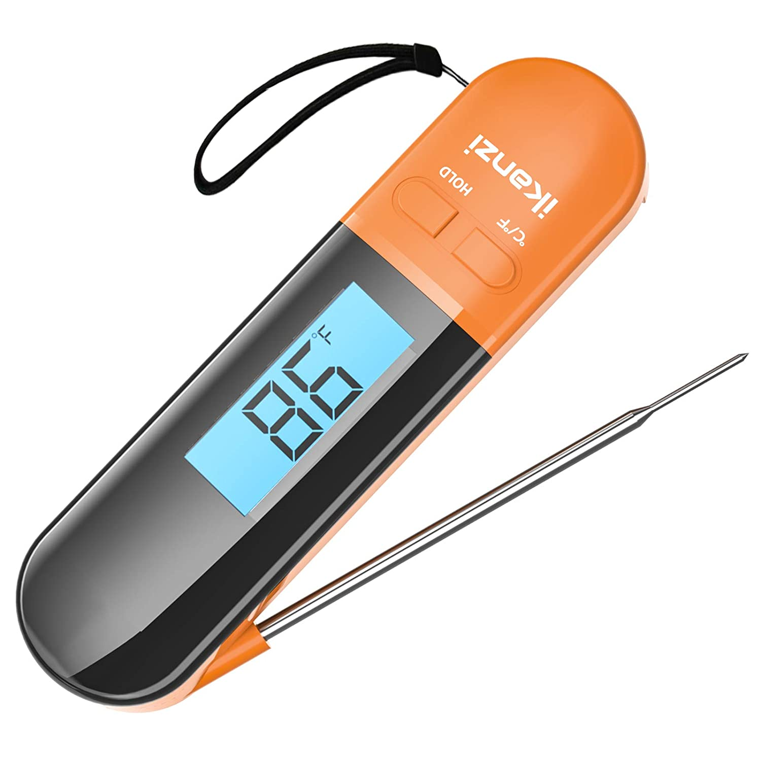 Meat Thermometer for Cooking Food Thermometer Digital Instant Read Kitchen Cooking Thermometer with Backlight LCD for Grilling/BBQ/Baking/Candy/Liquids/Oil(Orange)