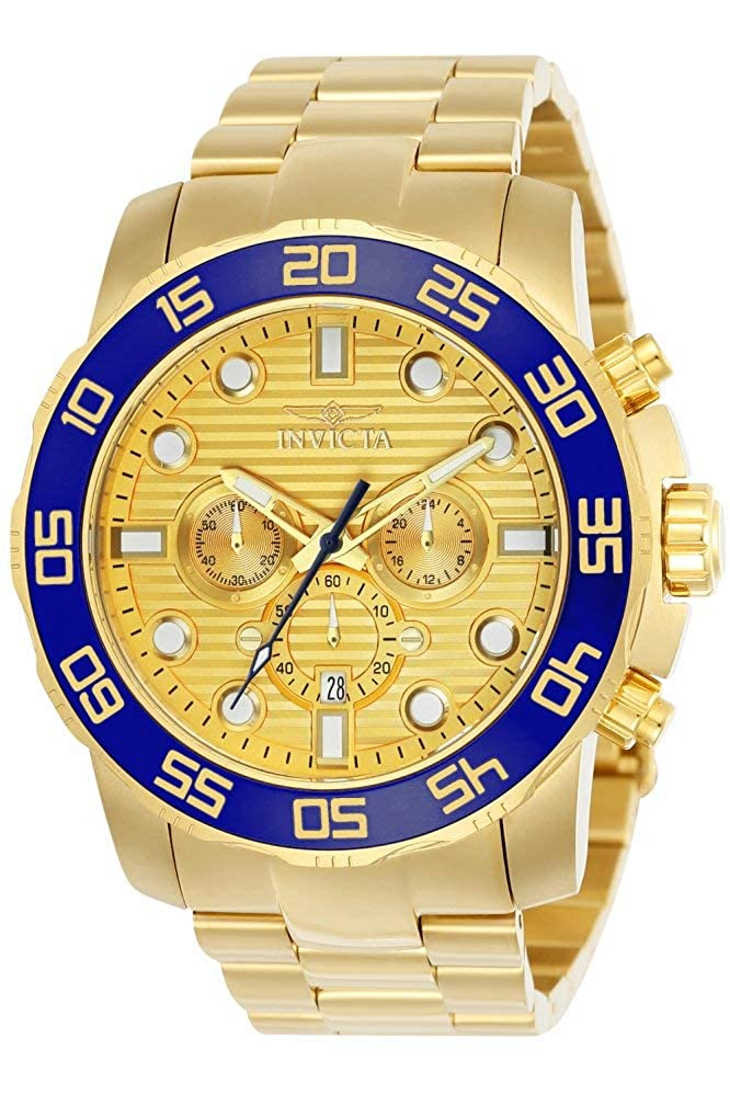 Invicta Men s Pro Diver Quartz Watch with Stainless-Steel Strap, Gold, 24.9 Model 22227 22228