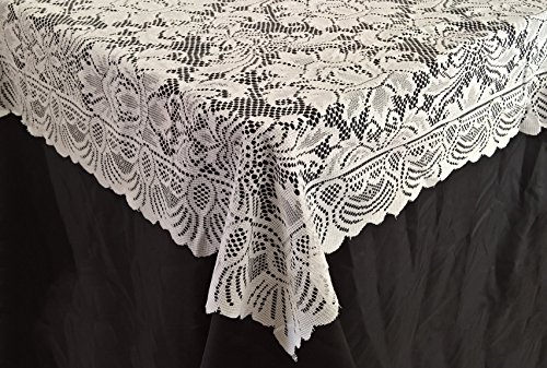 Goldstream Point White Lace Tablecloth Overlay Flowers 72 x 72 Inches Square (Square Table Cloth Lace)