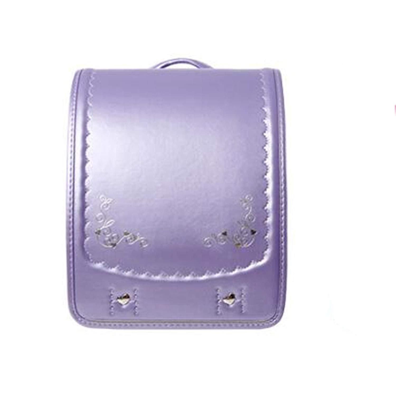 ランドセルランドセル かばん A4フラットファイル対応 女の子 ハート 可愛い入学祝い/プレゼント/誕生日/子供用 ガールズ  (紫)  紫 B07BTF2DBT
