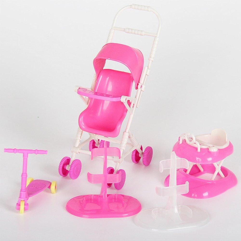 Accesorios para muñecas Set Toy Doll Accesorios para muñecas con Cochecito  de bebé Walker Scooter Doll ... 65da1eff1e4