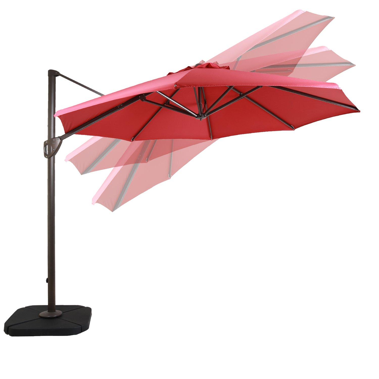 59ab70a8b1d3 DOMI OUTDOOR LIVING 11-Feet Aluminum Cantilever Umbrella Outdooor Patio  Tilt & Crank Round Umbrella with Cross Base,Red