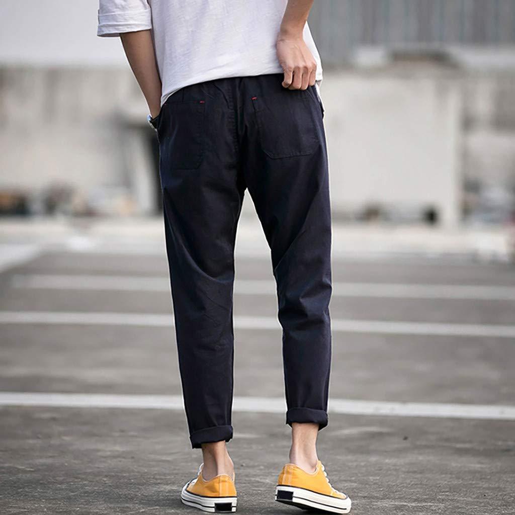 LINSINCH Pantalons Hommes Jogging Grande Taille Cargo Nouveau Style Version Cor/éEnne De La Couleur Solide Loose Large Size Beam Straig Kaki Lin Slim Taille Elastique Blanc Bermudas