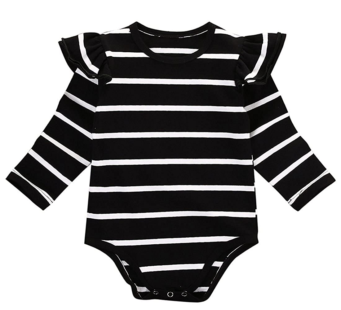GSHOOTS Infant Baby Toddler Girls' Ruffle Romper Butterfly Bodysuit Striped Onesie Long Sleeve Shirt Cotton Jumpsuit 40484