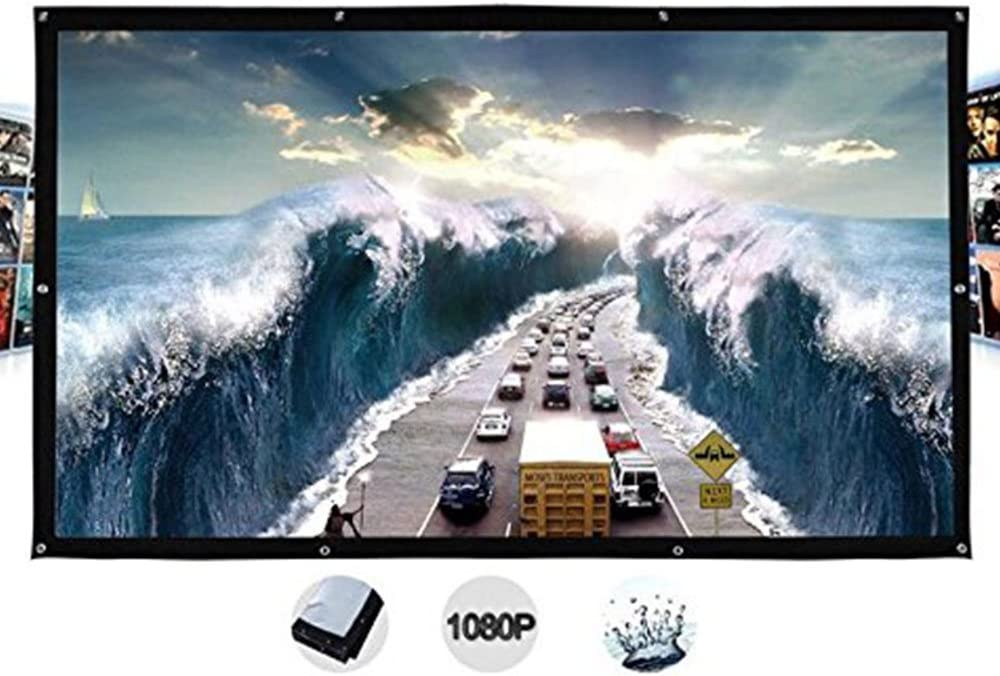 Auntwhale Foldable 16:9 HD Display 40 inches Projector Screen Polyester Projection Curtain Home Cinema Outdoor Courtyards 49×88cm White Background + Black Edge