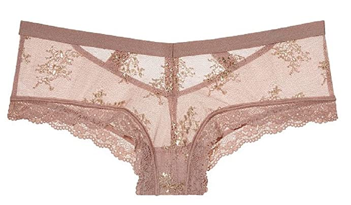 Victoria's Secret Sexy Powder Blush/Gold Lurex Shine Chantilly Lace Cheeky  Panty- Medium