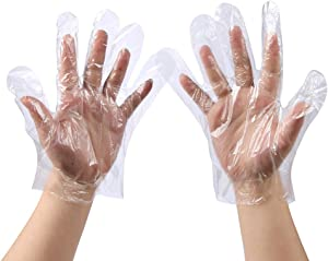 500 PCS Plastic Disposable Gloves, Transparent, One Size Fits Most,by Brandon-super