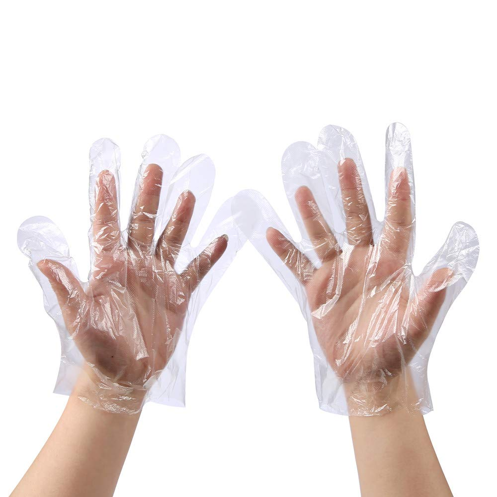 Disposable Food Prep Gloves - 500 Piece Plastic Food Safe Disposable Gloves, Food Handling, Transparent, One Size Fits Most (500 PCS)