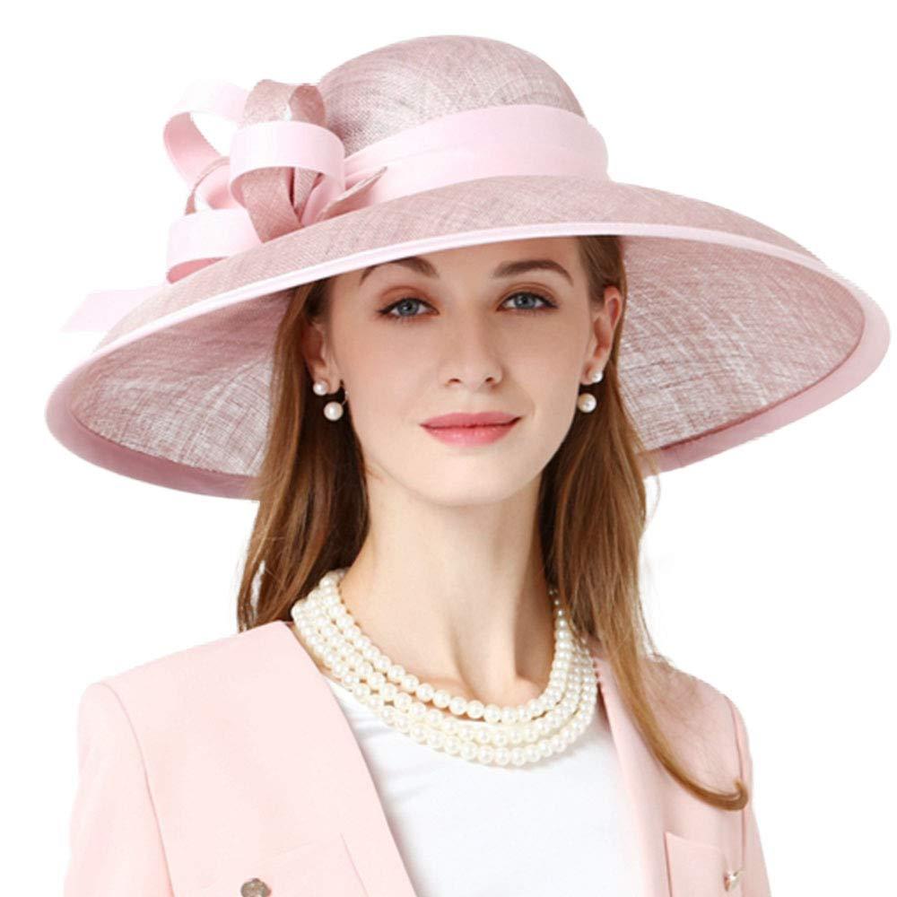 FADVES Big Brim Hat Fascinator Derby Church Dress Floral Wedding Sinamay Hats Pink