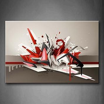 artistique Rouge Gris Blanc Peinture murale images ...