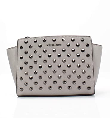 f7b6a22aa61727 Amazon.com: MICHAEL Michael Kors Selma Studded Medium Messenger (Pearl  Grey): Shoes
