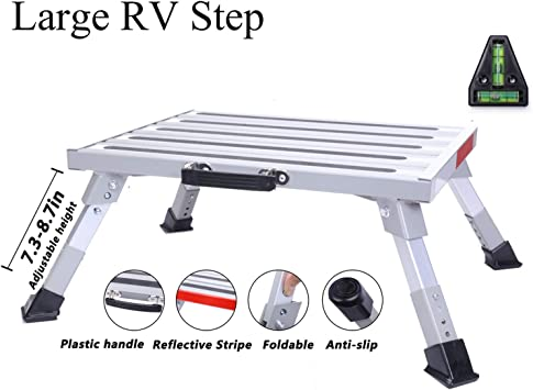 RV T Level Reflective Stripe More Stable Supports Up to 1000 lbs Homeon Wheels Safety RV Steps 16.5 x 12.2 RV Step Stool Aluminum Folding Platform Step with Non-Slip Rubber Feet Grip Handle