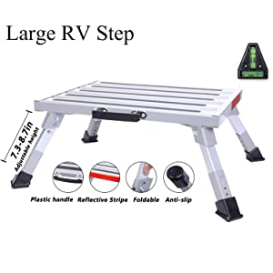 "Homeon Wheels 19"" x 14.5"" Large RV Step Stool, Adjustable Height Aluminum Folding Platform Step and Ladder with Non-Slip Rubber Feet, More Stable Supports Up to 1,500lbs Safety RV Steps"