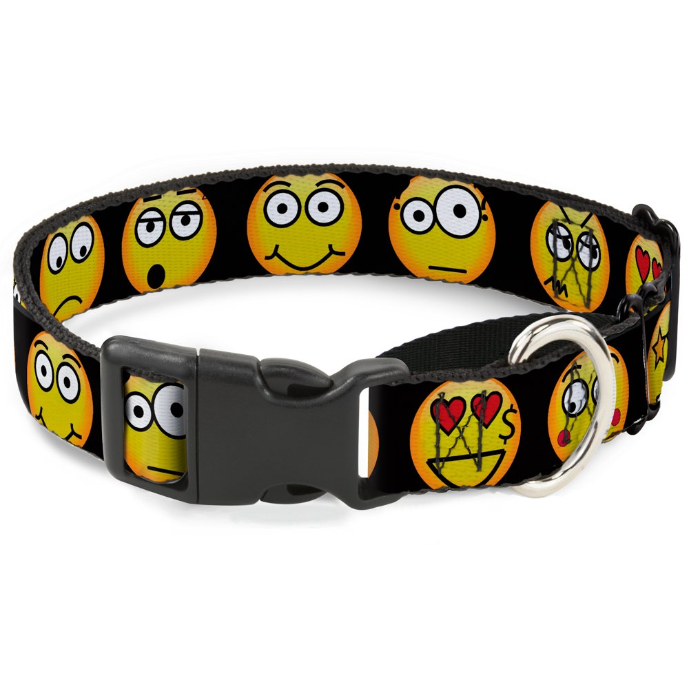 Buckle-Down Emojis 9-Expressions Black Martingale Dog Collar, 1  Wide-Fits 11-17  Neck-Medium
