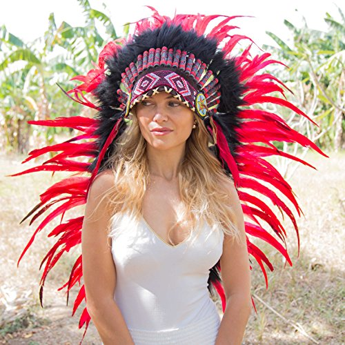 Novum Crafts Feather Headdress | Native American Indian Inspired | Red by Novum Crafts (Image #1)
