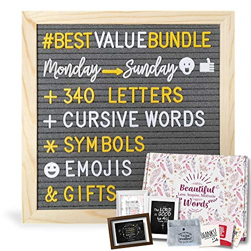 Felt Letter Board 10x10 with Bonus Gifts Worth $50 | Changeable Letter Board + 340 Letters in 2 Colors + Cursive Days & Months + Symbols&Emojis + Felt Pouch Organizer + Bonus Gifts]()