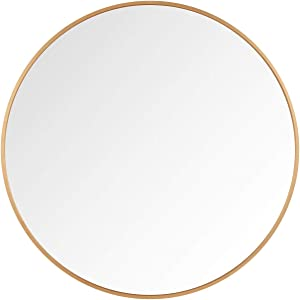 Itrue 36 Inches Round Wall Mirror, Brushed Aluminium Frame Bathroom Circle Mirror for Entryway, Washroom, Living Room and More, Gold