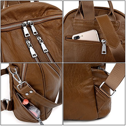 Doux Brun Femme Cuir Crossbody Sac Noir à zippées bandoulière UTO Sac à Convertible Synthétique avec Poches dos en ZqBCR