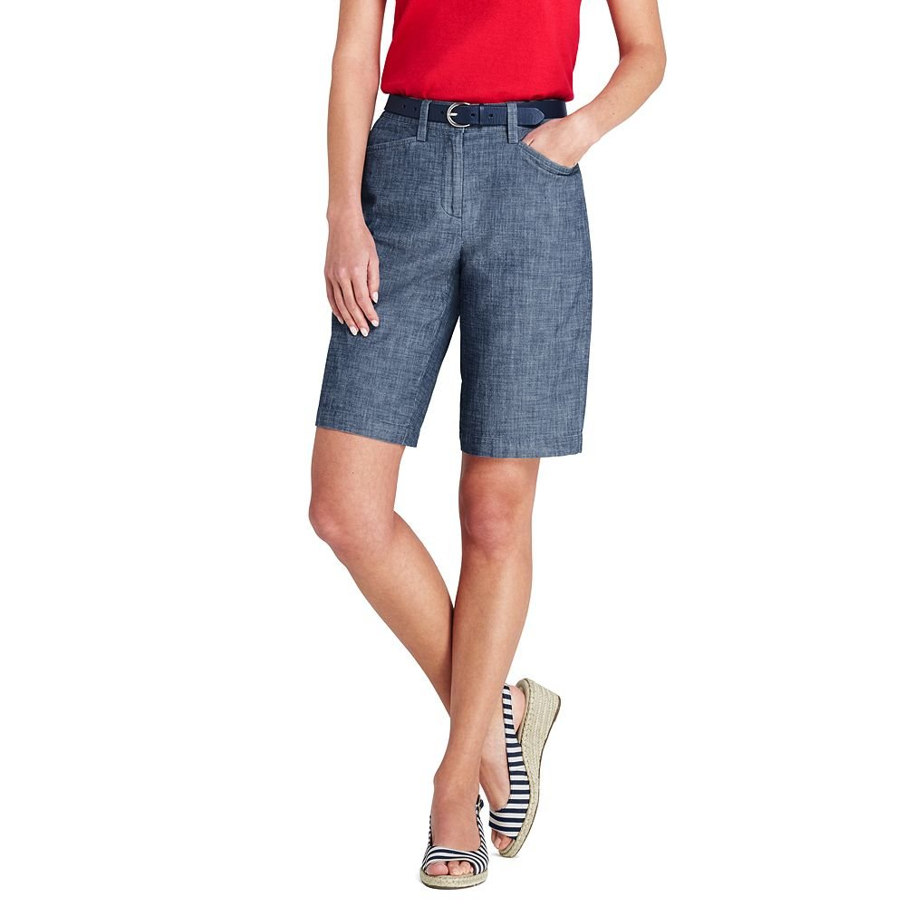 Lands' End Women's Petite Mid Rise 10'' Chino Shorts, 14, Evening Sky Chambray
