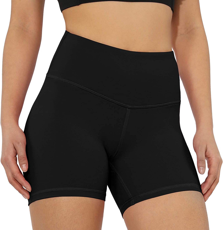 ODODOS Women's Yoga Short Tummy Control Workout Running Athletic Non See-Through Yoga Shorts with Hidden Pocket