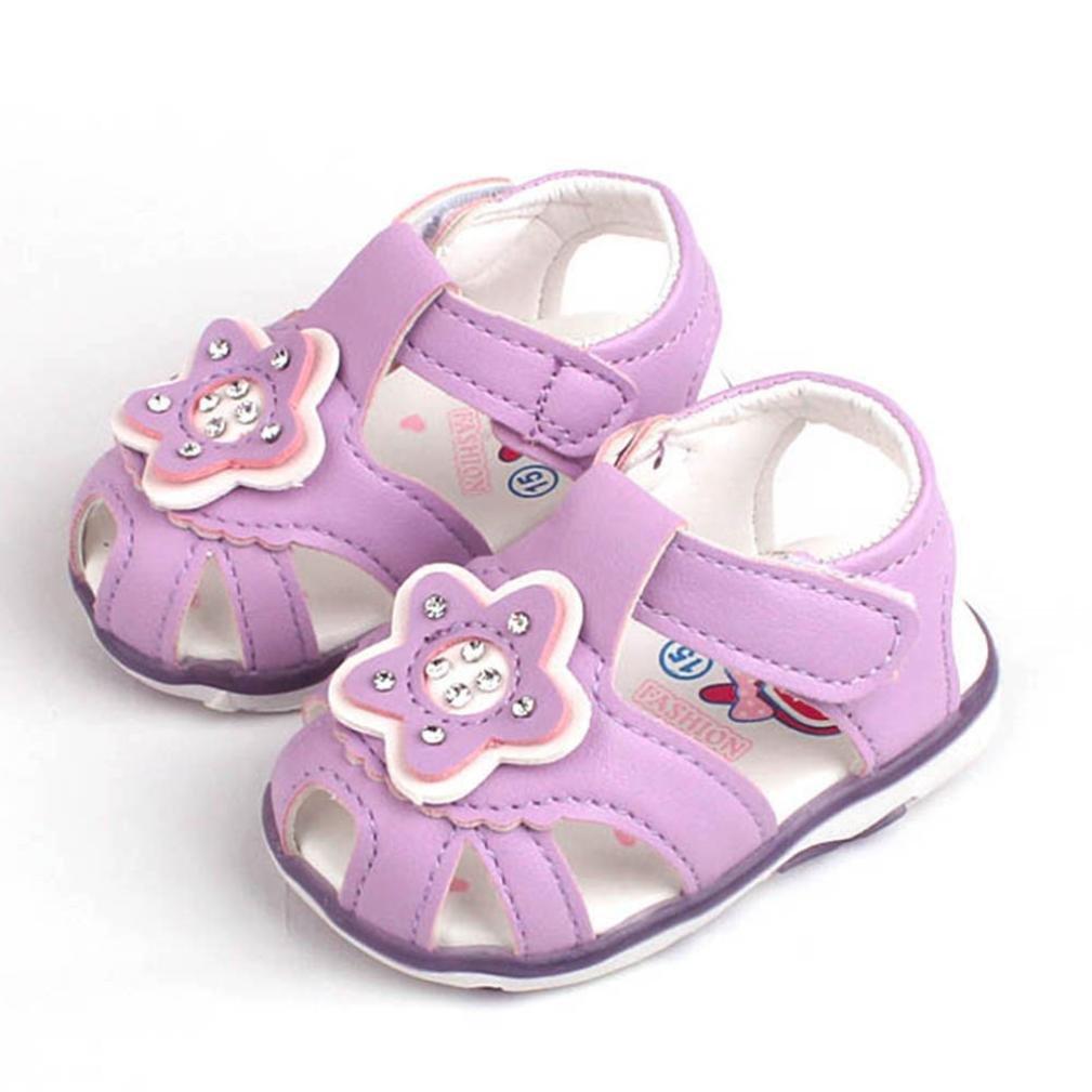 yjydadaプリンセス女の子ベビー星光照明ビーチサンダルGirlsスリッパ靴 B07DHKL62Z  パープル 16