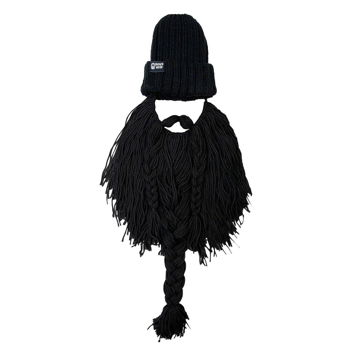 5a50eae0dec Amazon.com  Beard Head Barbarian Roadie Beard Beanie -Funny Knit Hat and  Fake Beard Facemask Black  Clothing