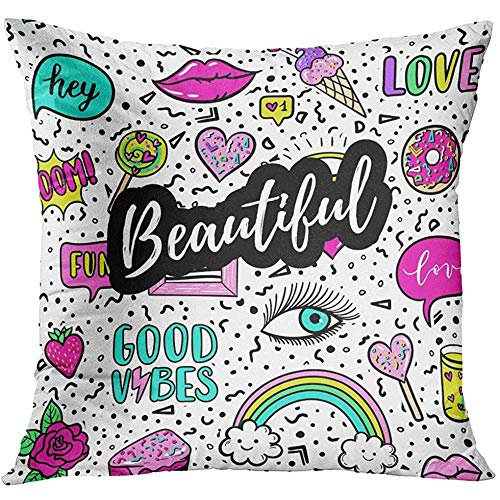 Throw Pillow Cover Beautiful Pink Color Patches Rainbow Doughnut Cat Macaron Cake Lollipop Pop Sticker Pin 80S 90S Style Decorative Pillow Case Home Decor Square 18x18 Inches -