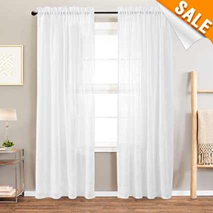 Lazzzy Off-White Linen Like Sheer Curtains for Living Room Open Weave Rod  Pocket Window Treatments for Bedroom Curtains 84 Inch Length, 2 Panels, 52\