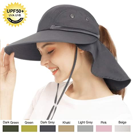 Dainzuy Sun Hats for Women Wide Brim Safari Fishing Hat Outdoor Sun Protection Camping Cover Cap with Large Neck Flap