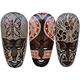 Gorgeous Set Of (3) Hand Chiseled Wood African Style Wall Decor Masks