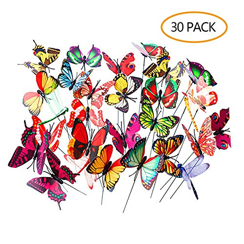 - LABOTA 30 PCS Colorful Garden Butterflies and Dragonflies Stakes Butterflies On Sticks Garden Ornaments for Yard Patio Party Decorations Plant Decoration Christmas Decoration